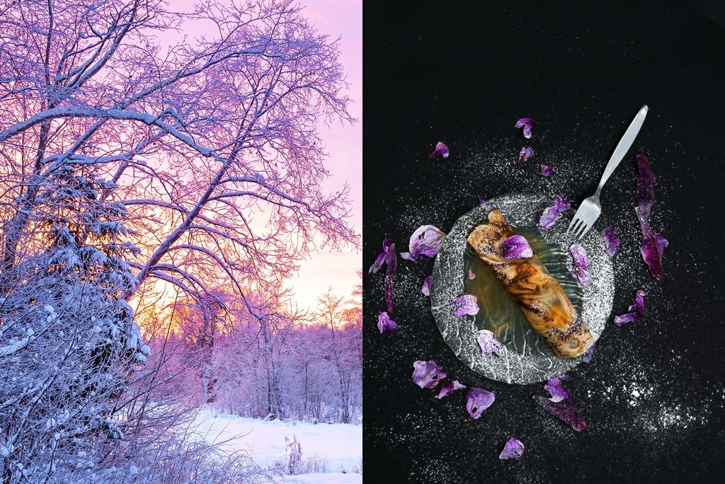 Fotocollage mit lila Dämmerung und Omelette, garniert mit violetten Blüten