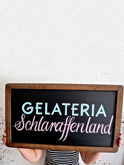 Handlettering Kurs Laila Luisi Gelateria Schlaraffenland
