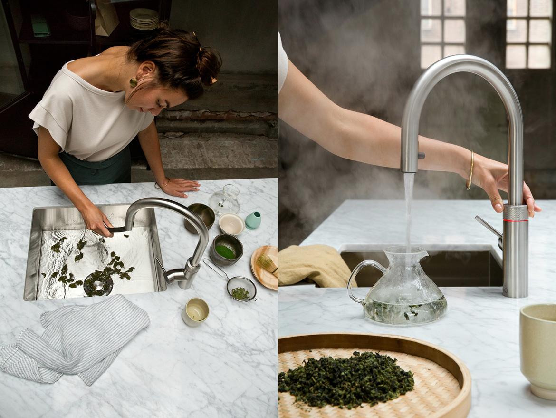 Kochend heisses Wasser aus dem Wasserhahn mit dem Quooker