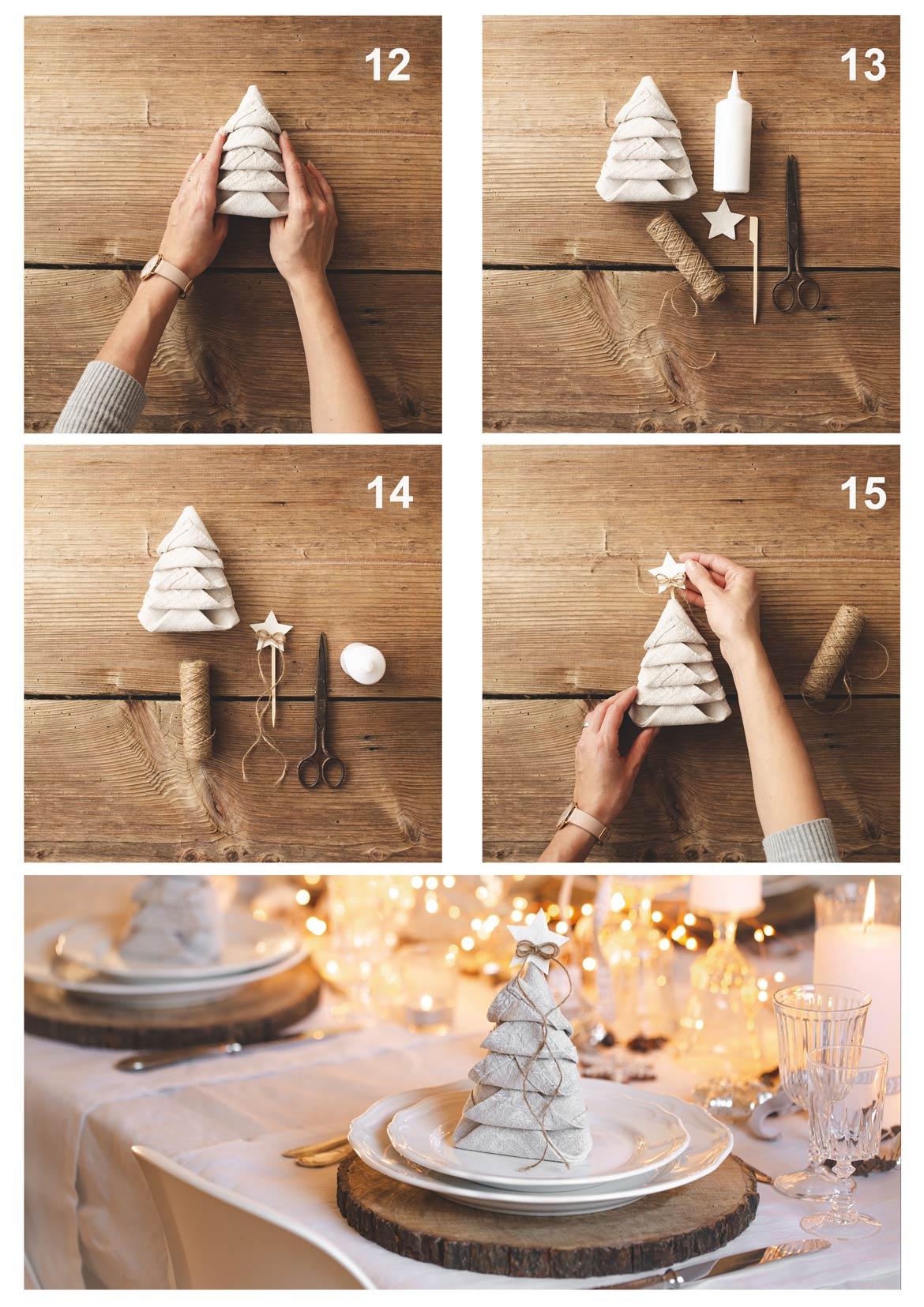 Servietten falten, serivetten tannenbaum, diy, falten, servietten weihnachten, weihnachtstafel