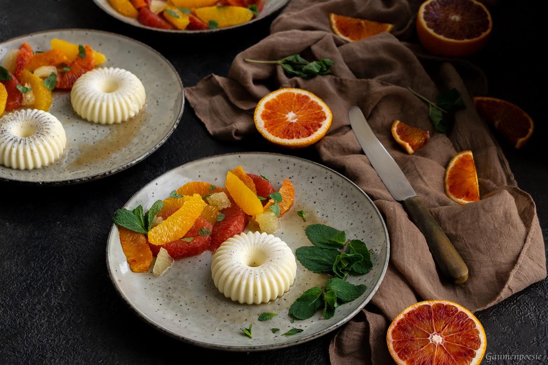 Mandel-Panna-Cotta mit Zitrusfrüchte-Salat - EMME - Die Schweizer Küche